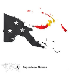 Map of papua new guinea with flag vector