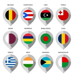 Marker from paper with flag for map - set ninth vector image vector image