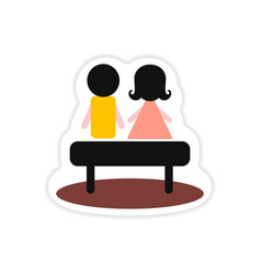 Paper sticker on white background boy girl bench vector