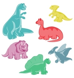 Set funny colored dinosaurs vector