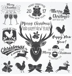 Set of Merry Christmas and Happy New Year 2017 vector image