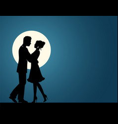 silhouettes of a couple in love vector image vector image