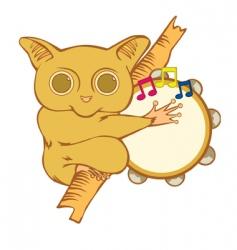Tarsier with tambourine vector
