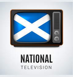 Vintage tv and flag of scotland as symbol vector