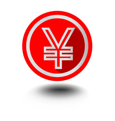 Yen japanese currency symbol in circle red shape vector
