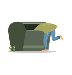 young homeless man character looking for food in a vector image