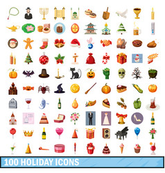 100 holiday icons set cartoon style vector image
