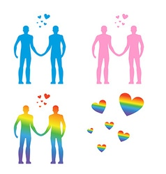 Lgbt silhouettes same-sex love gays and lesbians vector