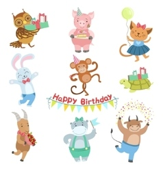 Cute Animal Characters Attending Birthday Party vector image