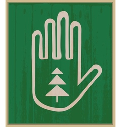 Hand and spruce vector