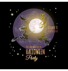 Halloween card with moon witch owl bat cats vector