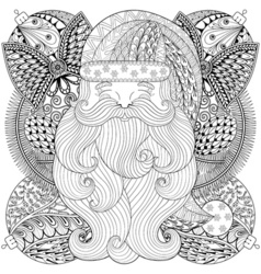 Fancy santa on christmas balls wreath in zentangle vector