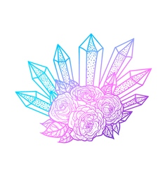 Blackwork tattoo of rose and crystals bouquet Very vector image