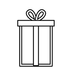 Gift box ribbon package decor linear vector