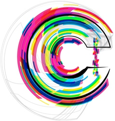 Colorful font - letter c vector