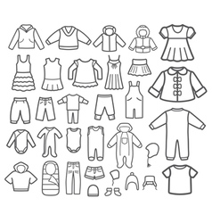 Set of children clothing vector