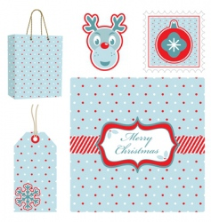 polka dot Christmas set vector image