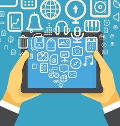 The businessman holding modern digital tablet devi vector