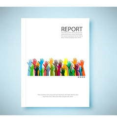 Cover report hands of different colors background vector