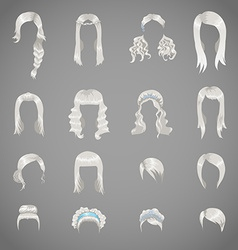 Set of sixteen different gray hairstyles for women vector