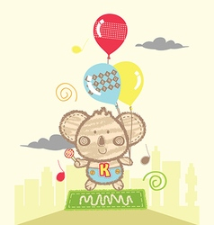 Koala playing baloons vector