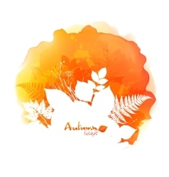 Autumn watercolor stain with white foliage vector