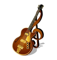 Jazz guitar with a treble clef and shadow vector