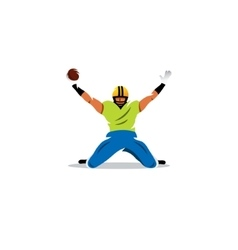American football sign player celebrating a goal vector