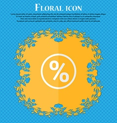 Percentage discount floral flat design on a blue vector