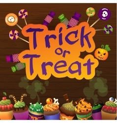 Happy halloween trick or treat greeting card wiht vector