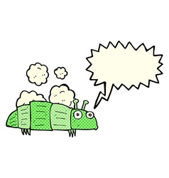 Cartoon bug with speech bubble vector