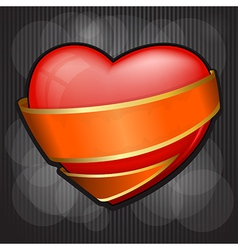 Valentines day heart wrapped in orange ribbon eps vector