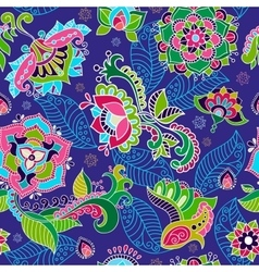 Bright seamless pattern in paisley style vector