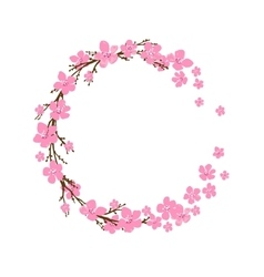 Spring wreath with cherry blossoms place for text vector