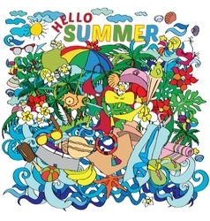 Lettering hello summer with decorative vector