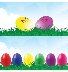 Easter eggs in a grassland vector