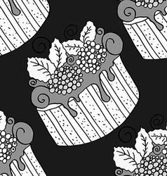 Hand drawn seamless pattern cupcakes vector