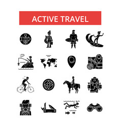 active travel thin line icons vector image vector image