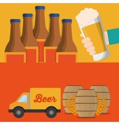 Banner truck beer and bottles barrel vector