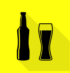Beer bottle sign black icon with flat style vector