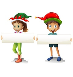 Boy and girl holding blank signs vector
