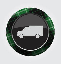 Button with green black tartan - van car icon vector