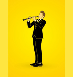 clarinetist player a man play clarinet vector image vector image