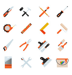 construction repair tools flat icon set vector image