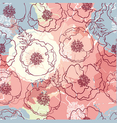 hand drawn poppy seamless pattern vector image vector image