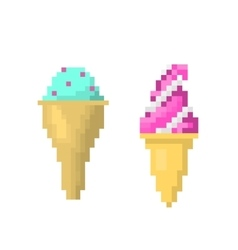 Ice cream on stick style of pixel art vector image