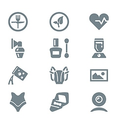 Icon set different household objects gray vector