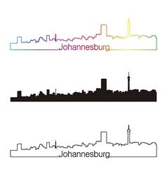 Johannesburg skyline linear style with rainbow vector
