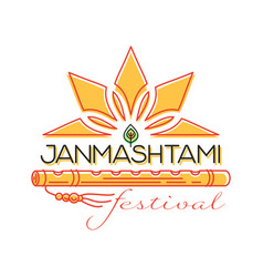 krishna janmashtami festival concept logo design vector image