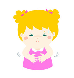 Little girl having stomach ache cartoon vector